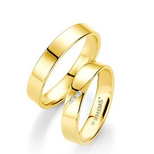 Alianças Baratas ouro amarelo 4,2mm de largura e 4 gramas - WM9275