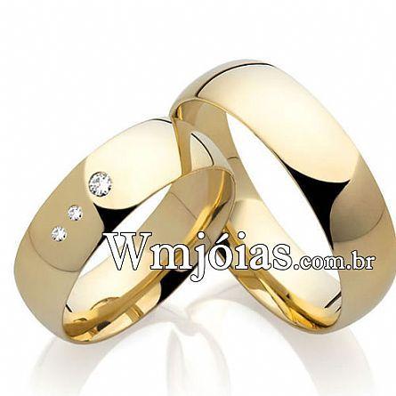 Alianças casamento diamantes WM2209