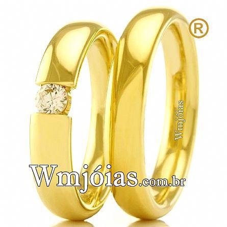 Aliancas casamento e noivado ouro WM2430