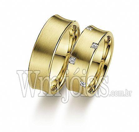 Alianças casamento Onda verde WM2252