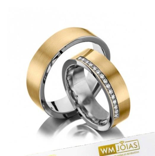 Alianças Casamento Ouro E Prata Polidas 5mm 10g WM10276