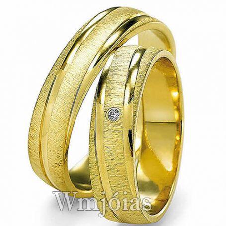 Alianças de Casamento Anatômicas, em Ouro 18K, com 11g o Par - WM3081