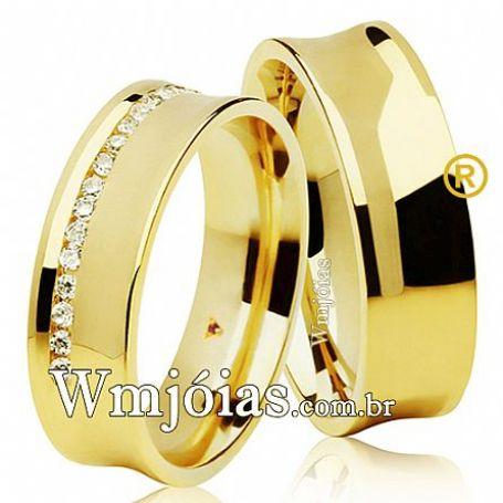 Alianças de Casamento Côncavas, em Ouro 18k, com  6mm, de 11 a 13g o par - WM3087