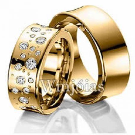 Alianças de casamento de luxo com pedras 8 mm e 18 a 20G WM3101