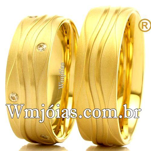 Aliancas de casamento e noivado 18k 750 WM2532