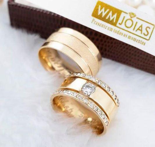 Alianças de Casamento e Noivado ouro Amarelo  Peso 16  gramas o par Largura 7 mm- WM10063