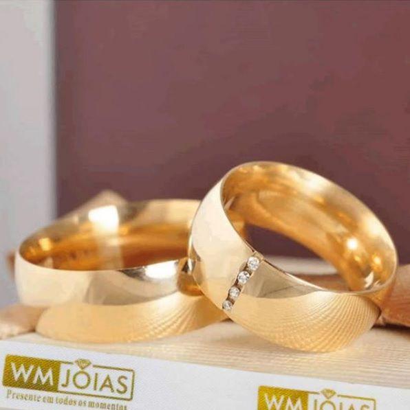 Alianças de casamento e Noivado  Peso 20 gramas o par Largura 8,5mm- WM10013