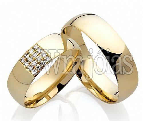 Alianças  de casamento em ouro 18k 750 WM2194