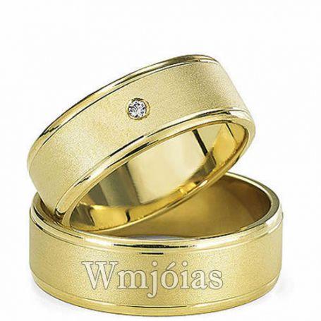 Alianças de Casamento em Ouro Amarelo 18k 750 Reta 6mm  WM3080