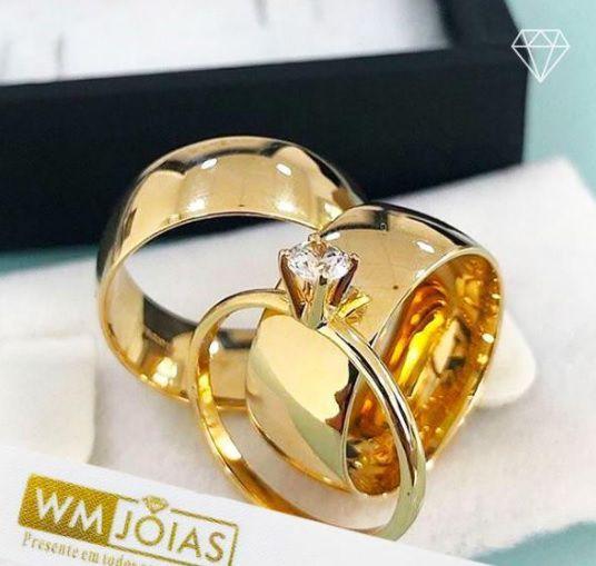Alianças de casamento  mais anel solitário  Peso 35 gramas o par Largura 12 mm- WM10110