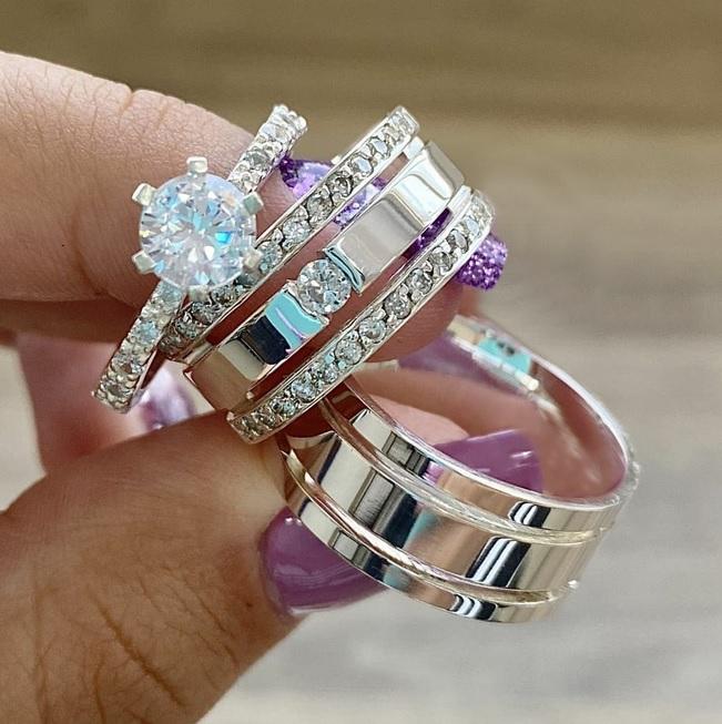 Alianças de namoro e anel solitario em prata  Peso 16G  WM10311