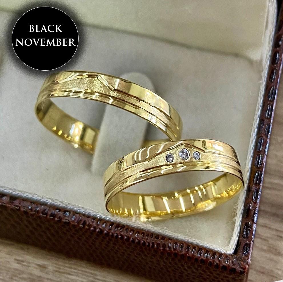 Alianças de Noivado Baratas em ouro 18k e Diamante 4mm -4,3G - WM9355