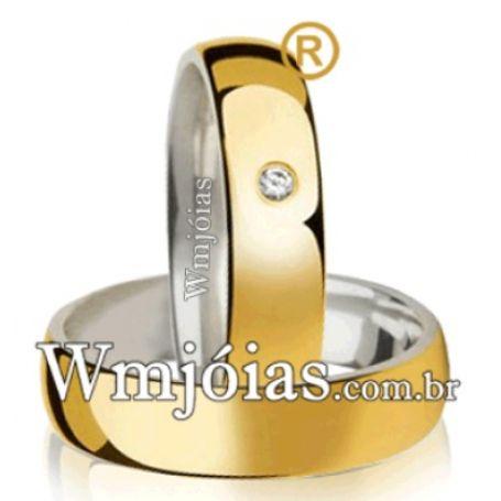 Aliancas de noivado casamento em Ouro 18k e Prata WM2607