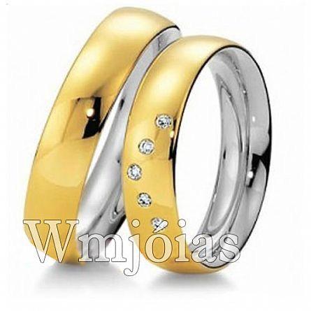 Aliancas de noivado casamento em Ouro 18k e Prata WM2951