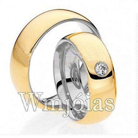 Aliancas de noivado casamento em Ouro 18k e Prata WM2957