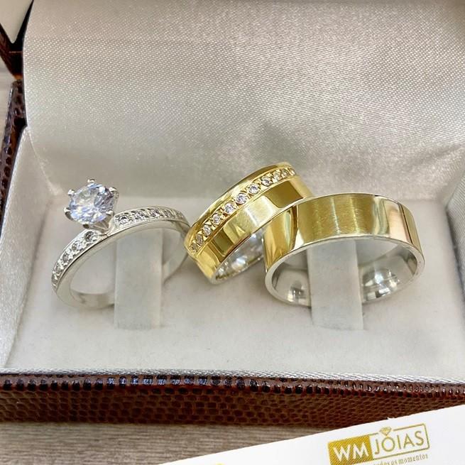 Alianças de noivado com 7 mm acompanha anel WM10275