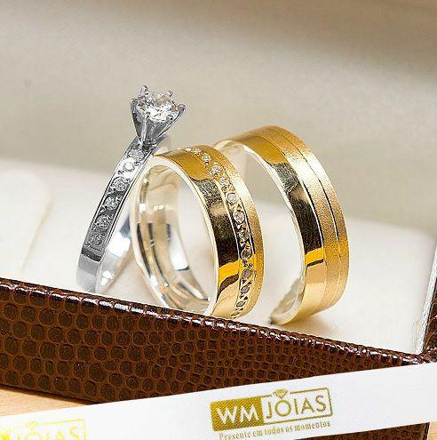 Alianças de noivado com anel solitário WM10242