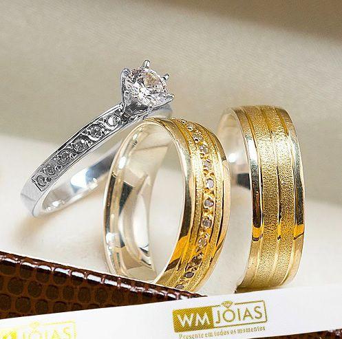 Alianças de noivado com pedras em ouro e prata WM10240