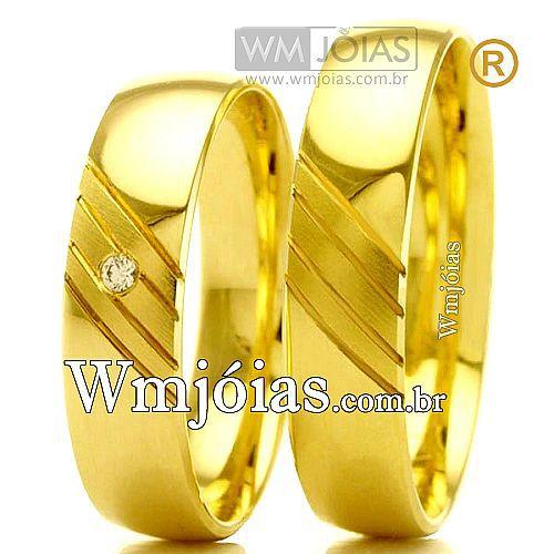 Alianças de noivado e casamento 18k WM2385