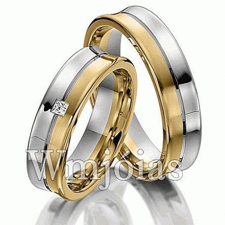 Alianças de noivado e casamento Côncava em ouro e prata WM3120