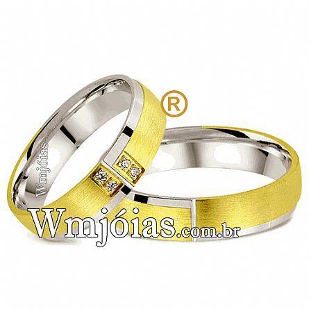 Aliancas de  noivado e casamento em Ouro 18k e prata WM2577