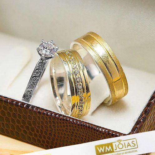 Alianças de noivado e casamento modelo anatômico, ouro e prata  WM10236