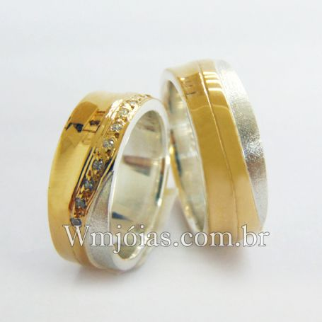 Aliancas de noivado e casamento ouro 18k e prata