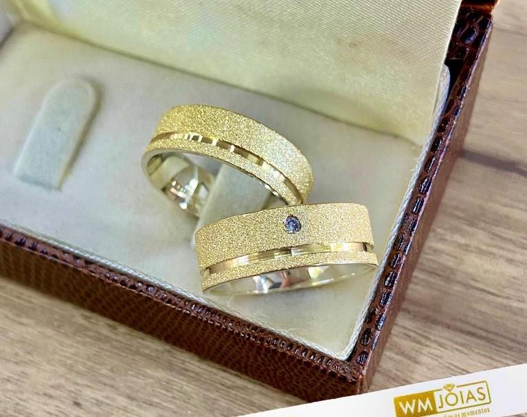 Aliancas de noivado e casamento ouro 18k e prata WM10247