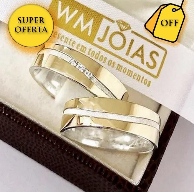 Aliancas de noivado e casamento ouro 18k e prata WM2563