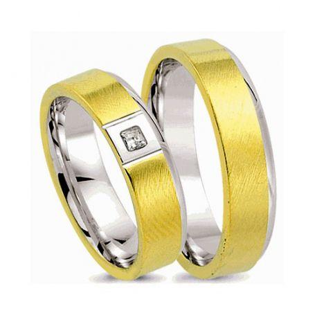 Alianças de noivado e casamento ouro 18k e prata WM2573