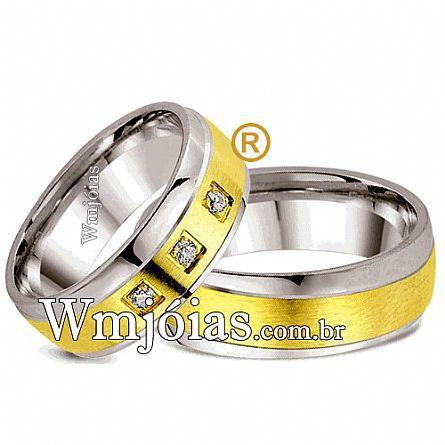 Alianças de noivado e casamento ouro 18k e prata WM2581