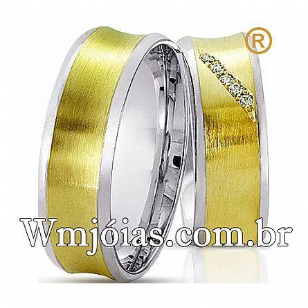 Alianças de noivado e casamento ouro 18k e prata WM2589