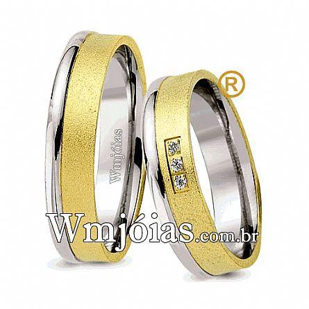 Alianças de noivado e casamento ouro 18k e prata WM2592