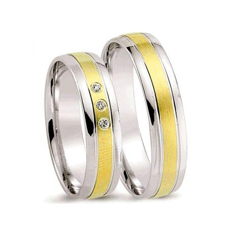 Alianças de noivado e casamento ouro 18k e prata WM2593