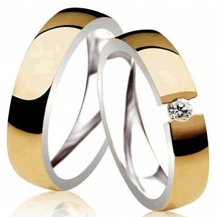 Alianças de noivado e casamento ouro 18k e prata WM2859
