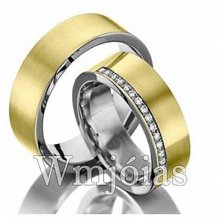 Aliancas de noivado e casamento ouro 18k e prata WM2934