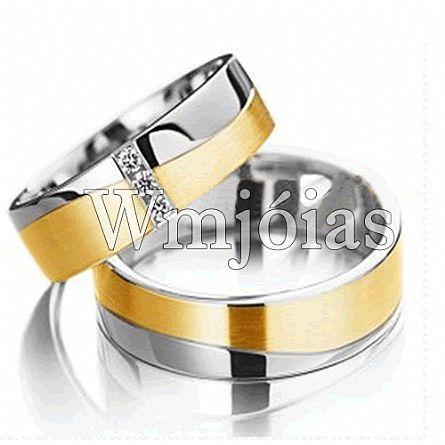 Aliancas de noivado e casamento ouro 18k e prata WM2953