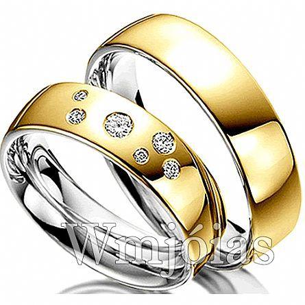 Aliancas de noivado e casamento ouro 18k e prata WM2954