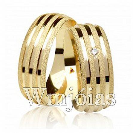 Aliancas de noivado e casamento ouro 18k e prata WM2956