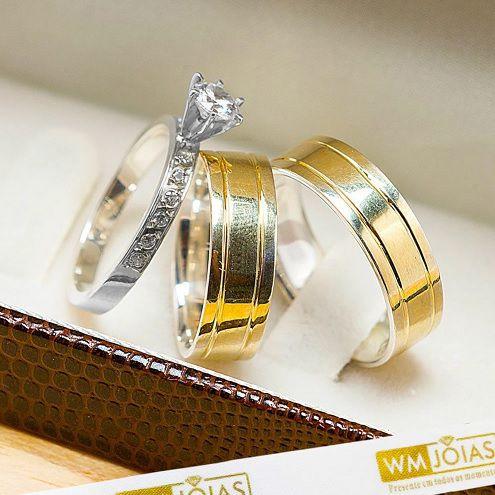 Alianças de noivado  lisa com anel 6 mm de largura WM10238