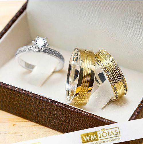 Alianças de noivado trabalhada e com pedras WM10235