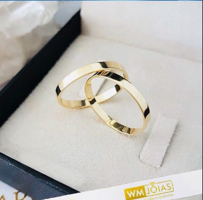 Alianças de ouro 18k noivado e casamento  WM10246