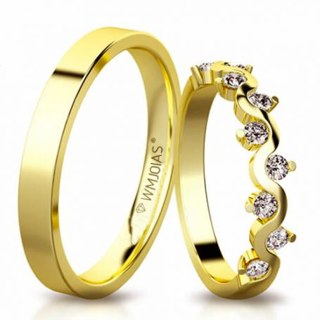 Alianças de ouro de casamento WM3149
