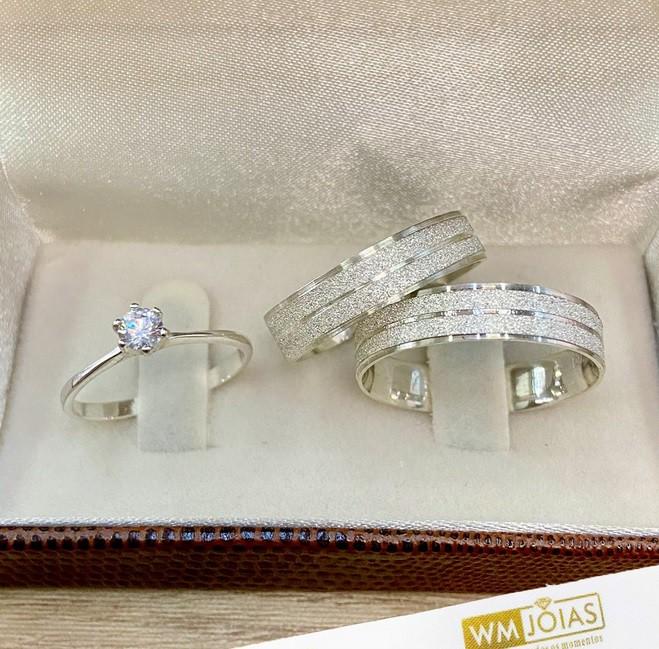Alianças de prata 4mm com anel solitário WM10267