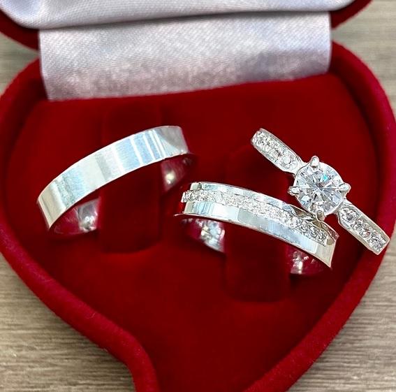 Alianças de prata com anel solitário WM10347