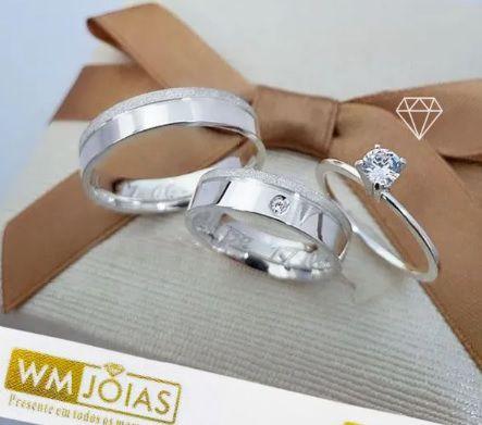 Alianças de prata mais anel solitario   10 G Largura 5mm - WM10131
