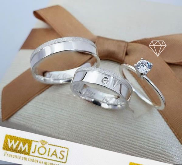 Alianças de prata mais anel solitario   12 G Largura 6mm - WM10131