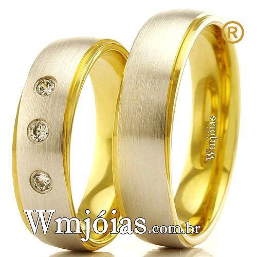 Alianças em ouro 18k 750 WM2376