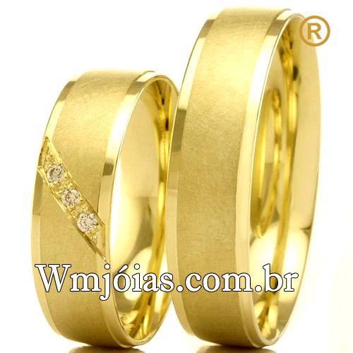 Alianças em ouro 18k 750 WM2536