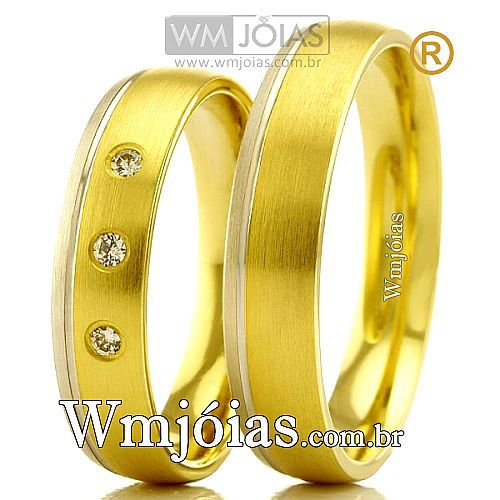 Alianças em ouro 18k branco e amarelo WM2371